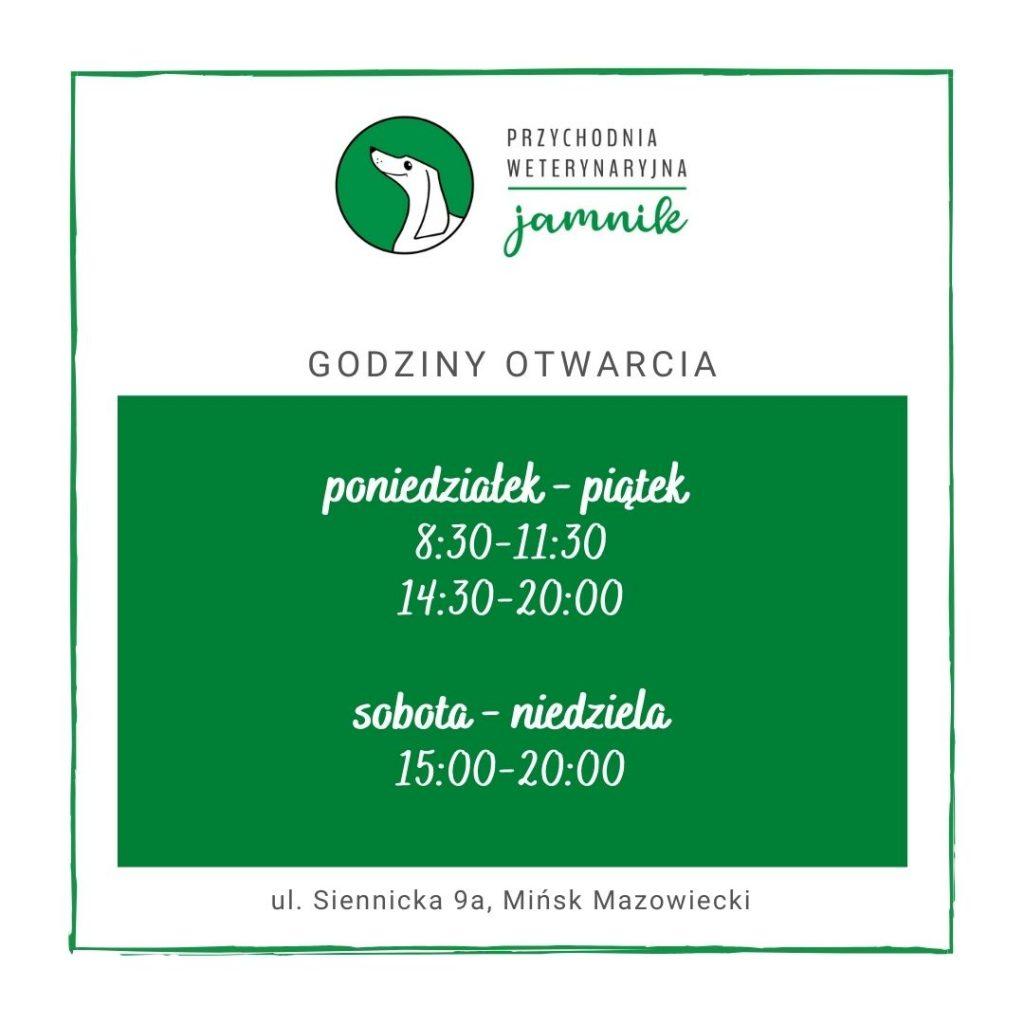 godziny otwarcia lecznicy weterynaryjnej Jamnik Mińsk Mazowiecki